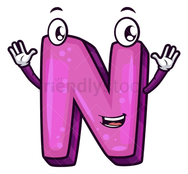 Cartoon letter n. PNG - JPG and vector EPS file formats (infinitely scalable). Image isolated on transparent background.