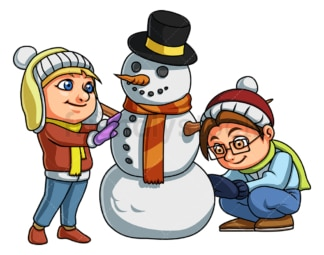 Kids building a snowman. PNG - JPG and vector EPS file formats (infinitely scalable). Image isolated on transparent background.