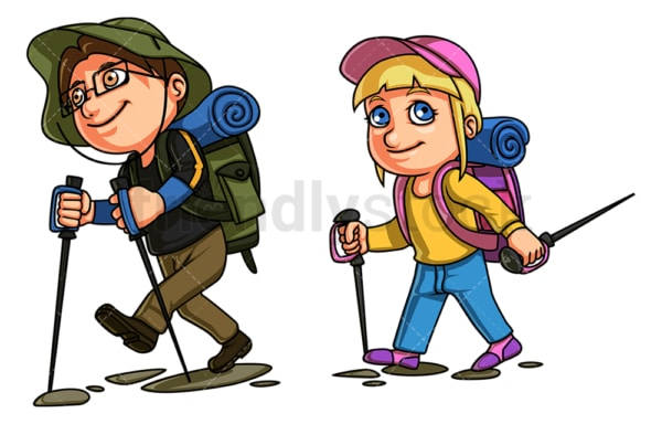 Kids going hiking. PNG - JPG and vector EPS file formats (infinitely scalable). Image isolated on transparent background.