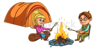 Camping kids toasting marshmallows. PNG - JPG and vector EPS file formats (infinitely scalable). Image isolated on transparent background.