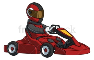 Man driving go kart. PNG - JPG and vector EPS file formats (infinitely scalable). Image isolated on transparent background.