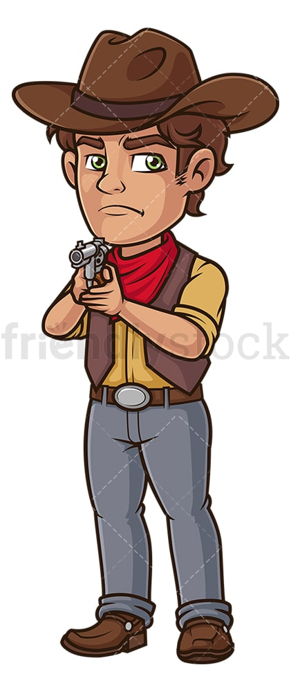 Cowboy pointing gun. PNG - JPG and vector EPS (infinitely scalable).