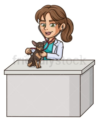 Female veterinarian examining dog. PNG - JPG and vector EPS (infinitely scalable).