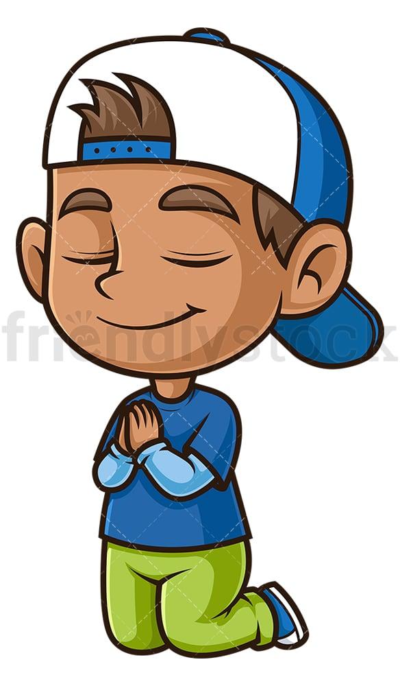 Hispanic boy praying. PNG - JPG and vector EPS (infinitely scalable).
