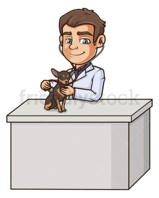 Male veterinarian examining dog. PNG - JPG and vector EPS (infinitely scalable).