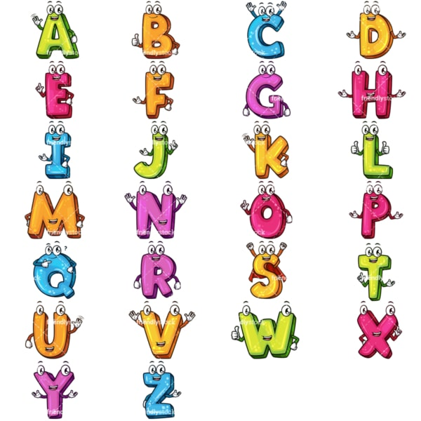 Cute cartoon letters. PNG - JPG and vector EPS file formats (infinitely scalable). Image isolated on transparent background.