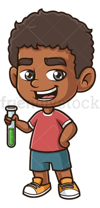 Black boy holding test tube. PNG - JPG and vector EPS (infinitely scalable).