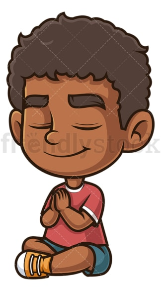 Black boy praying. PNG - JPG and vector EPS (infinitely scalable).