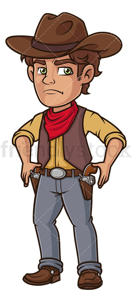Cowboy drawing guns. PNG - JPG and vector EPS (infinitely scalable).