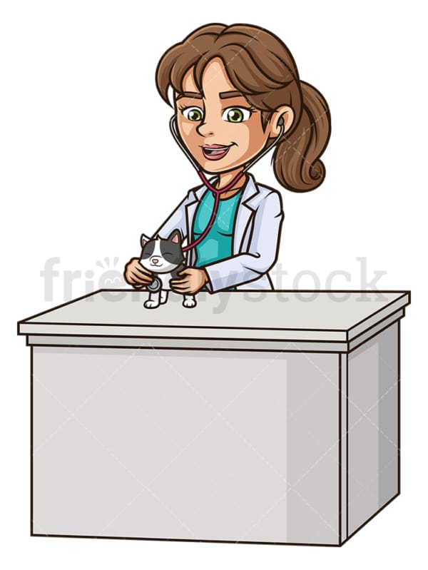 Female veterinarian examining cat. PNG - JPG and vector EPS (infinitely scalable).