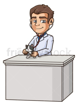 Male veterinarian examining cat. PNG - JPG and vector EPS (infinitely scalable).