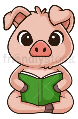 Pig reading book. PNG - JPG and vector EPS (infinitely scalable).