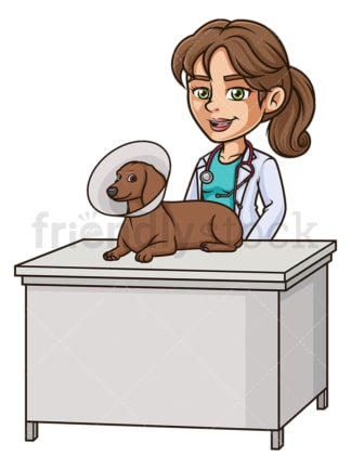 Female veterinarian dog cone. PNG - JPG and vector EPS (infinitely scalable).