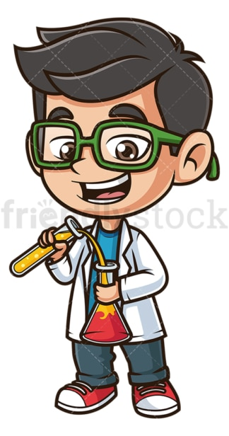 Kid scientist with glasses. PNG - JPG and vector EPS (infinitely scalable).