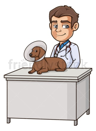 Male veterinarian dog cone. PNG - JPG and vector EPS (infinitely scalable).