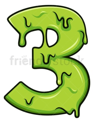 Slime number 3. PNG - JPG and vector EPS file formats (infinitely scalable). Image isolated on transparent background.