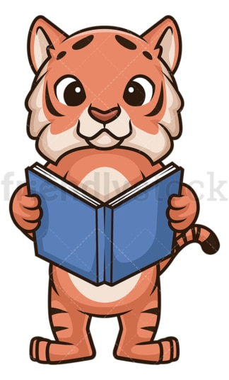 Tiger reading book. PNG - JPG and vector EPS (infinitely scalable).