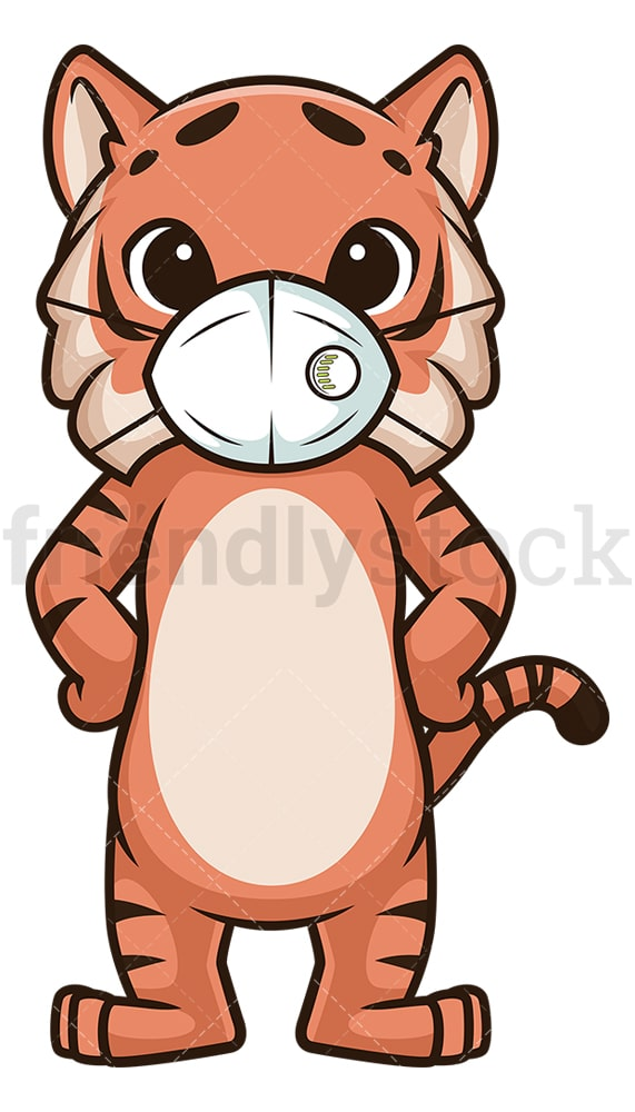 Tiger with face mask. PNG - JPG and vector EPS (infinitely scalable).