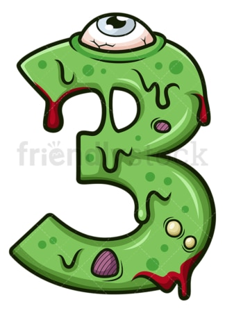 Zombie number 3. PNG - JPG and vector EPS file formats (infinitely scalable). Image isolated on transparent background.