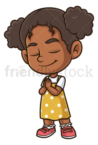 Black girl praying. PNG - JPG and vector EPS (infinitely scalable).