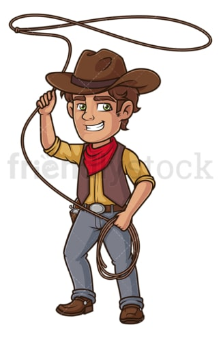 Cowboy throwing lasso rope. PNG - JPG and vector EPS (infinitely scalable).