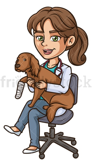 Female veterinarian injured dog. PNG - JPG and vector EPS (infinitely scalable).