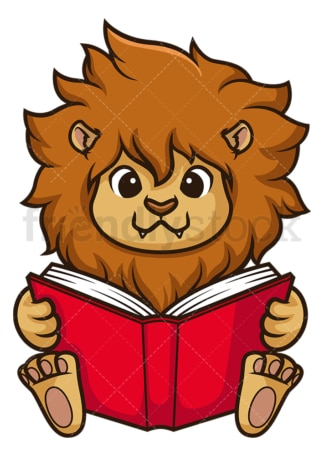 Lion reading book. PNG - JPG and vector EPS (infinitely scalable).