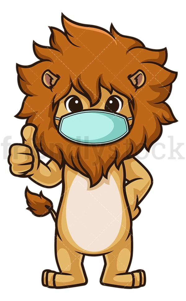 Lion with face mask. PNG - JPG and vector EPS (infinitely scalable).