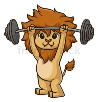 Lion working out. PNG - JPG and vector EPS (infinitely scalable).