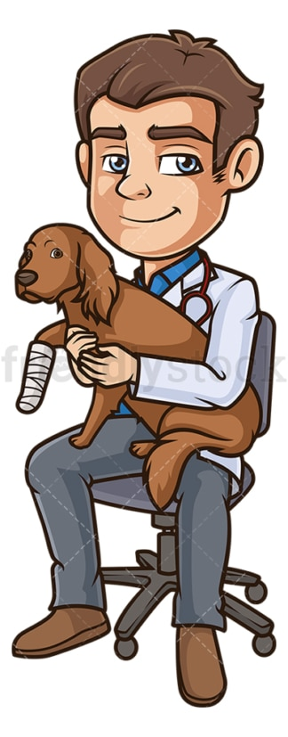 Male veterinarian injured dog. PNG - JPG and vector EPS (infinitely scalable).