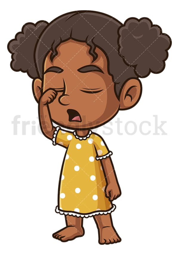 Sleepy black girl in pjs. PNG - JPG and vector EPS (infinitely scalable).