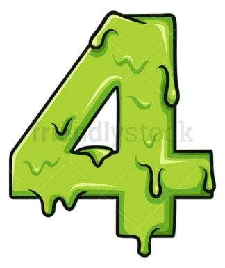Slime number 4. PNG - JPG and vector EPS file formats (infinitely scalable). Image isolated on transparent background.