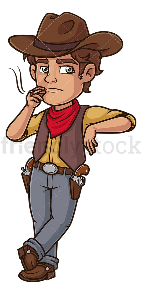 Cowboy leaning. PNG - JPG and vector EPS (infinitely scalable).