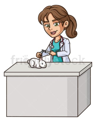 Female veterinarian examining rabbit. PNG - JPG and vector EPS (infinitely scalable).