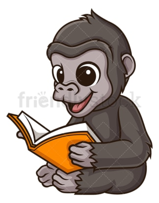 Gorilla reading book. PNG - JPG and vector EPS (infinitely scalable).