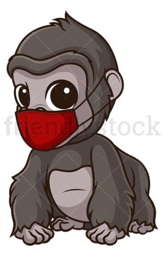 Gorilla with face mask. PNG - JPG and vector EPS (infinitely scalable).