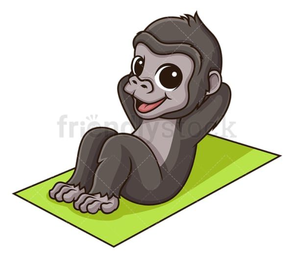 Gorilla working out. PNG - JPG and vector EPS (infinitely scalable).