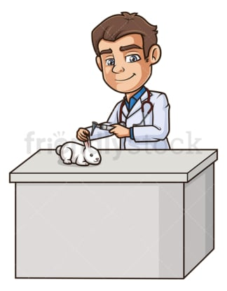Male veterinarian examining rabbit. PNG - JPG and vector EPS (infinitely scalable).