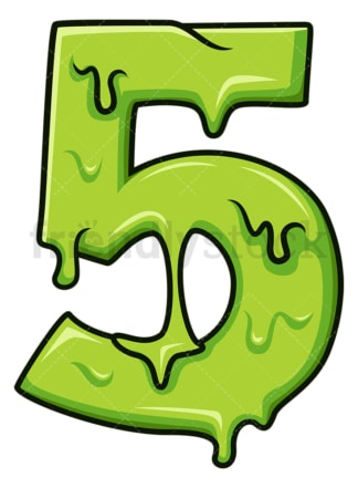 Slime number 5. PNG - JPG and vector EPS file formats (infinitely scalable). Image isolated on transparent background.