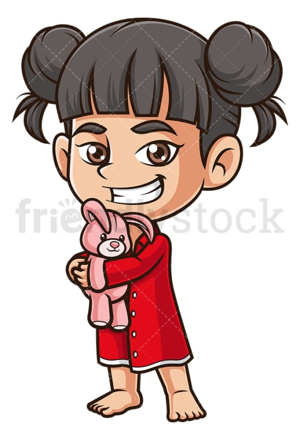 Asian girl wearing pajamas. PNG - JPG and vector EPS (infinitely scalable).