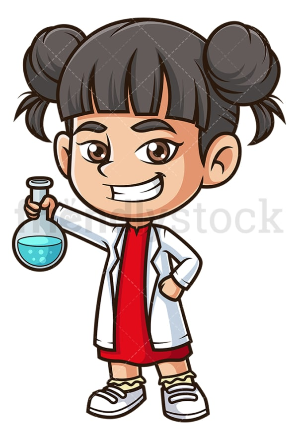 Asian science girl. PNG - JPG and vector EPS (infinitely scalable).
