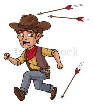 Cowboy running from arrows. PNG - JPG and vector EPS (infinitely scalable).