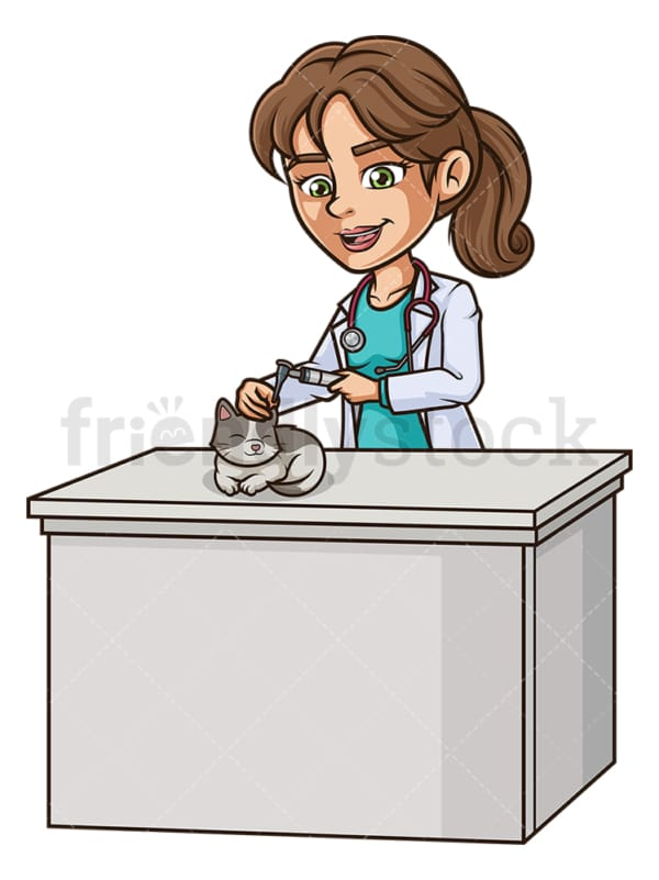 Female veterinarian examining cat's ear. PNG - JPG and vector EPS (infinitely scalable).