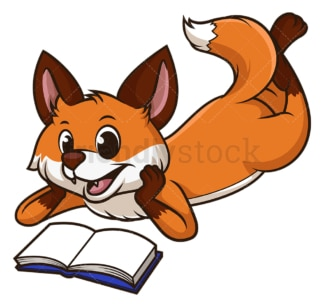 Fox reading book. PNG - JPG and vector EPS (infinitely scalable).