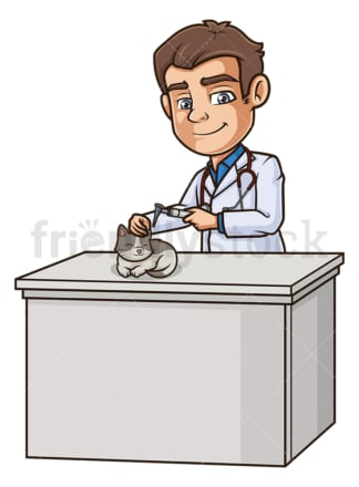 Male veterinarian examining cat's ear. PNG - JPG and vector EPS (infinitely scalable).
