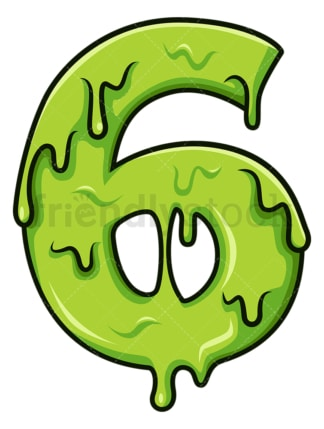 Slime number 6. PNG - JPG and vector EPS file formats (infinitely scalable). Image isolated on transparent background.