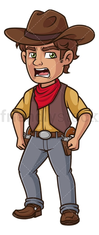 Angry cowboy. PNG - JPG and vector EPS (infinitely scalable).
