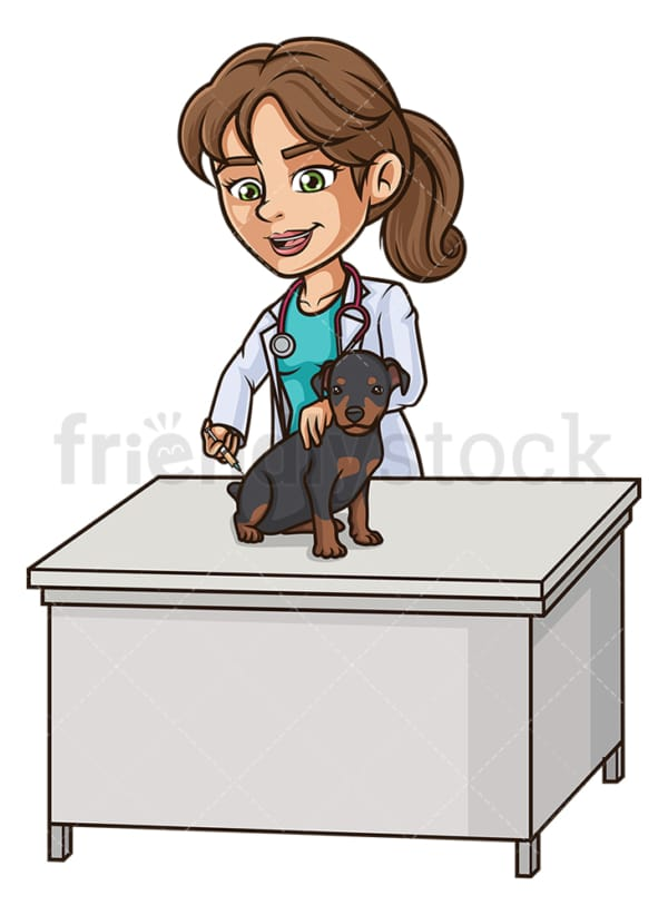 Female veterinarian vaccinating dog. PNG - JPG and vector EPS (infinitely scalable).