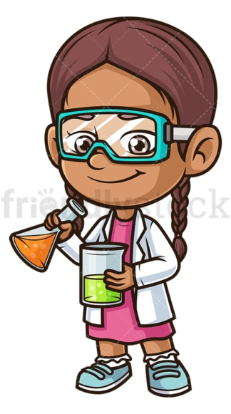 Hispanic girl scientist. PNG - JPG and vector EPS (infinitely scalable).