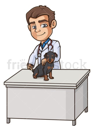 Male veterinarian vaccinating dog. PNG - JPG and vector EPS (infinitely scalable).